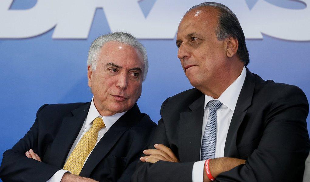 Brasília - DF, 16/02/2018) (E/D) Presidente Michel temer e o Governador do Rio de Janeiro, Luiz Fernando Pezão. Foto: Beto Barata/PR