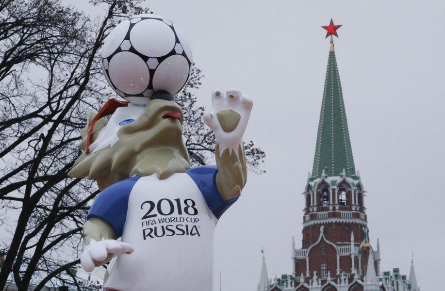 The official mascot for the 2018 FIFA World Cup Russia, Zabivaka, is on display near a tower of the Kremlin in central Moscow, Russia November 29, 2017. REUTERS/Sergei Karpukhin