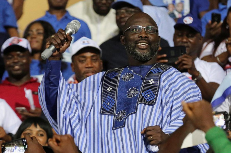 George Weah, former soccer player and presidential candidate of Congress for Democratic Change (CDC),