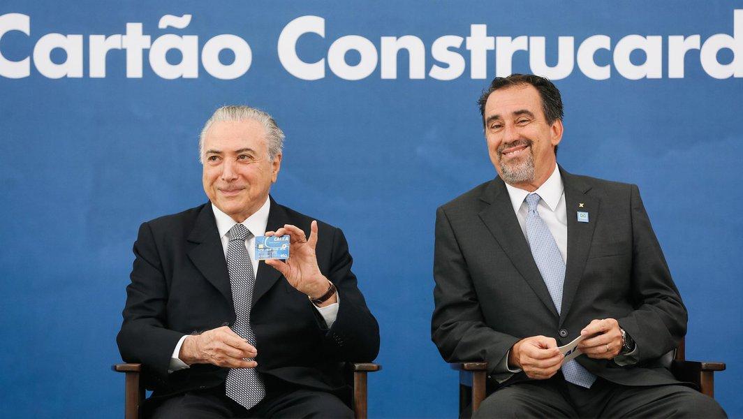 (Brasília - DF 24/11/2016) Presidente Michel Temer durante cerimônia de apresentação do Novo Cartão Construcard. Foto: Beto Barata/PR