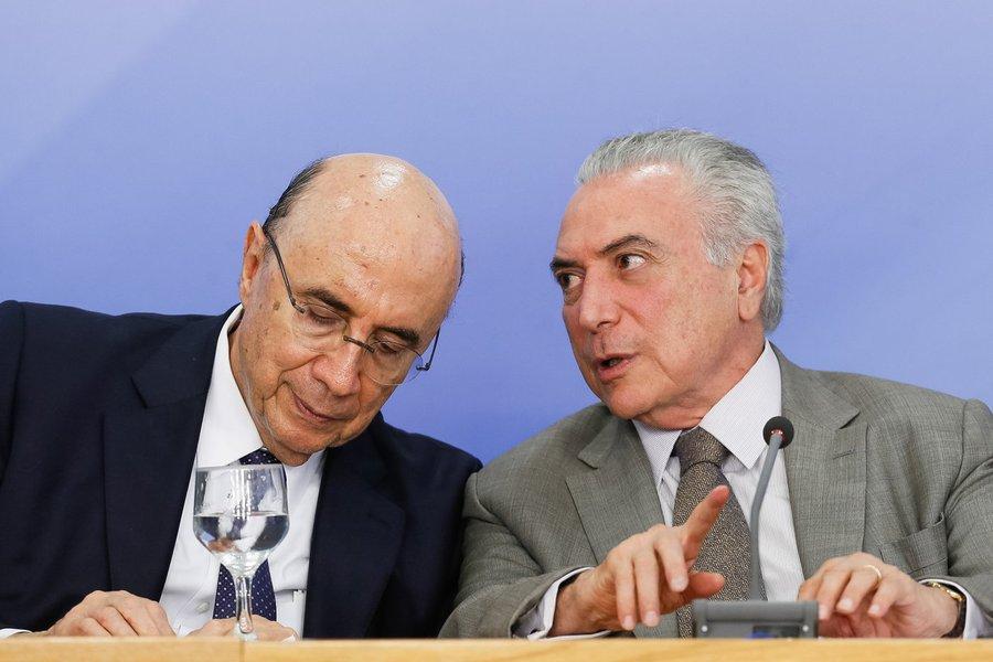 Brasília - Ministro da Fazenda, Henrique Meirelles, e o presidente Michel Temer durante anuncio do pacote de medidas econômicas (Beto Barata/PR)