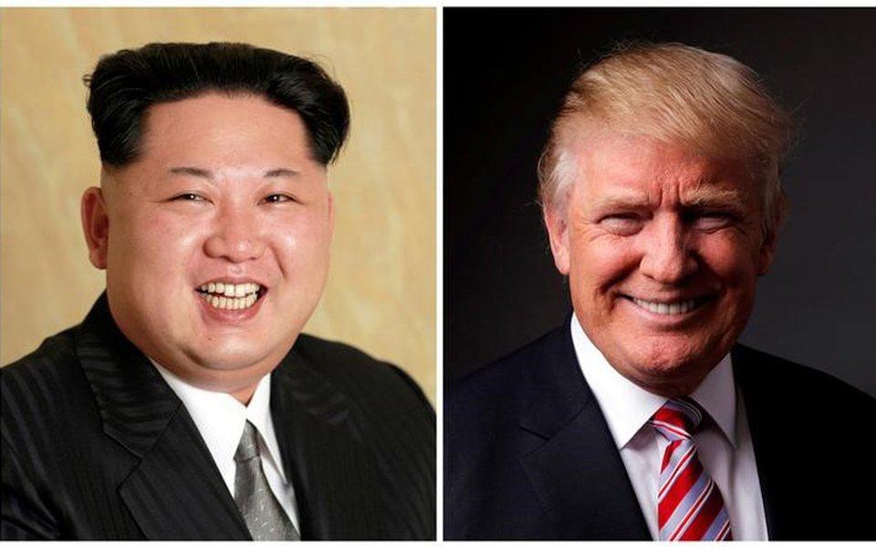 Montagem com fotos do líder da Coreia do Norte, Kim Jong Un, e do presidente dos Estados Unidos, Donald Trump REUTERS/KCNA Divulgação via REUTERS & REUTERS/Lucas Jackson