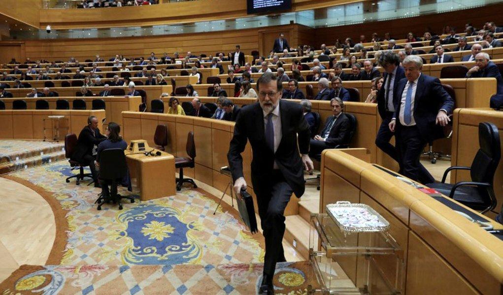 Primeiro-ministro espanhol, Mariano Rajoy, durante sessão de debates no Senado da Espanha 27/10/2017 REUTERS/Susana Vera