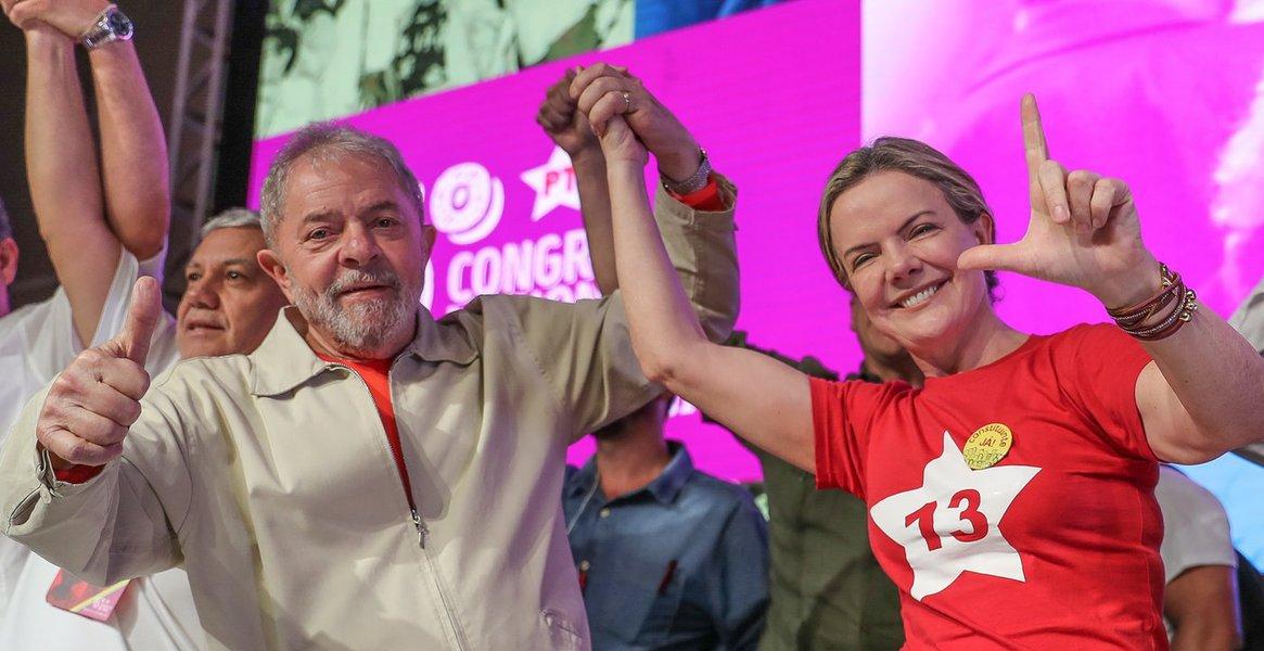 Gleisi e Lula no congresso nacional do PT
