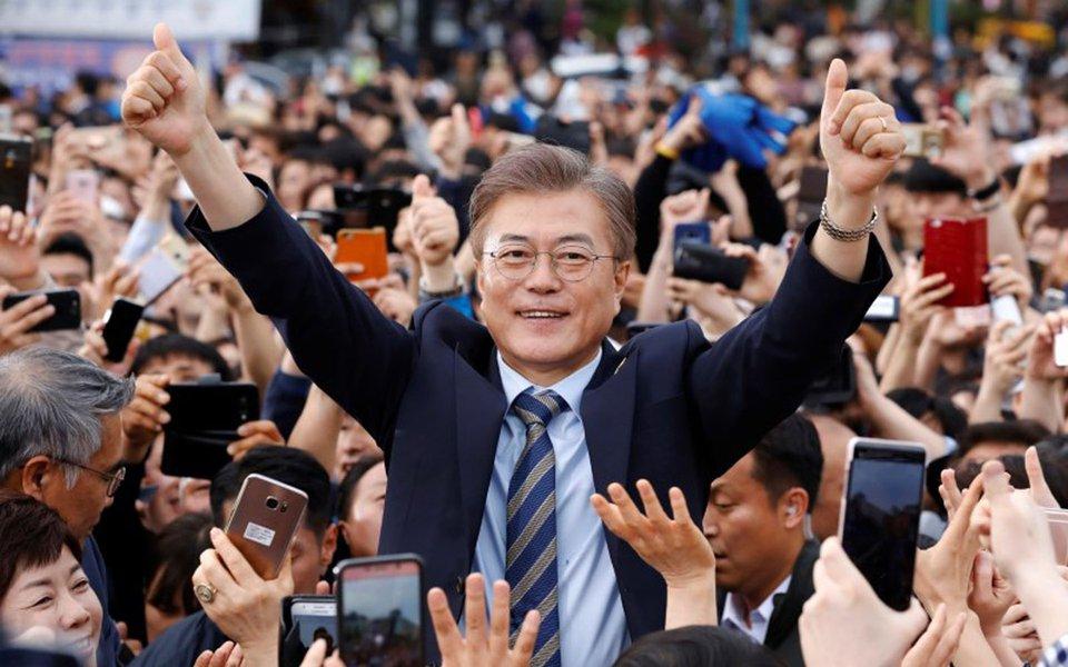 Moon Jae-in, candidato presidencial do Partido Democrático, durante evento de campanha em Goyang, na Coreia do Sul. 04/05/2017 REUTERS/Kim Hong-Ji