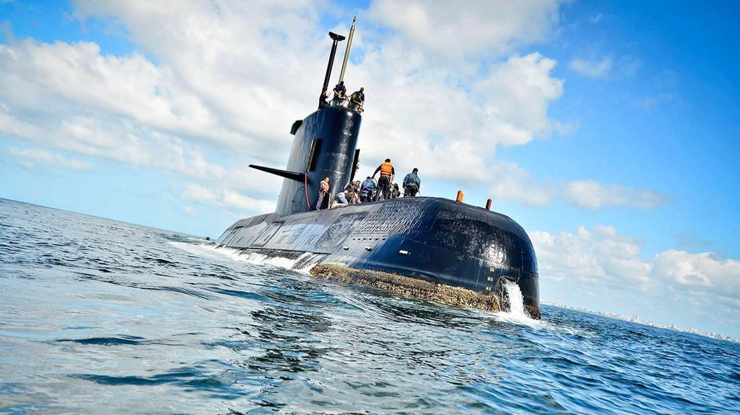 Submarino argentino Ara San Juan, que desapareceu durante manobras