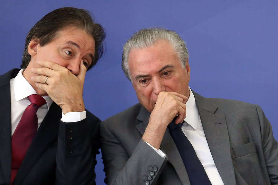 Michel Temer + presidente do Senado, Eunício Oliveira (PMDB-CE)