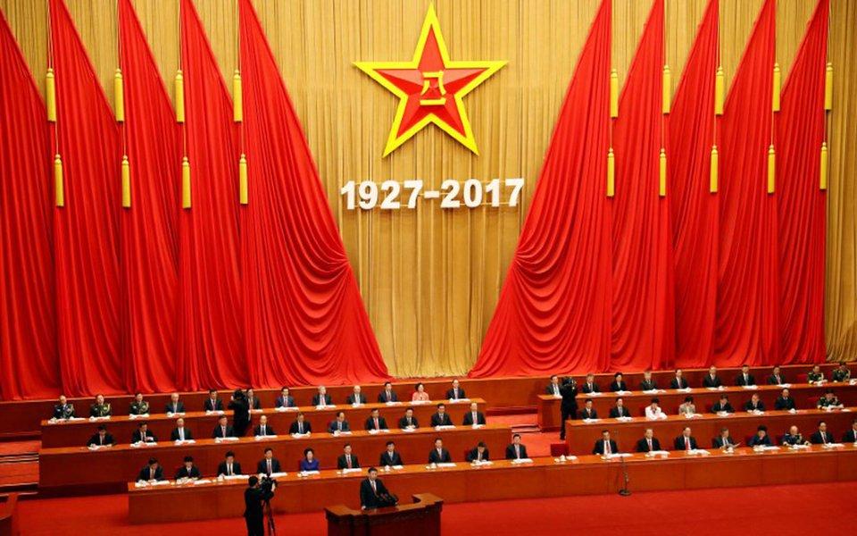 Presidente chinês, Xi Jinping, em discurso no Grande Salão do Povo, em Pequim 01/08/2017 REUTERS/Damir Sagolj