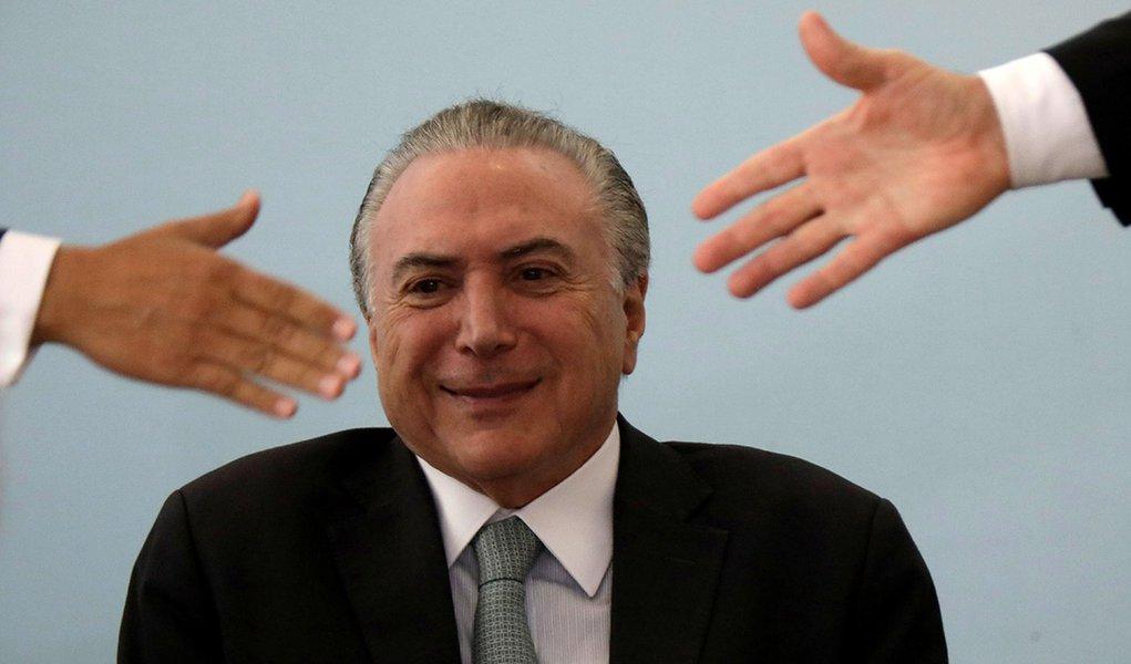 Presidente Michel Temer durante cerimônia no Palácio do Planalto em Brasília 04/10/2017 REUTERS/Ueslei Marcelino