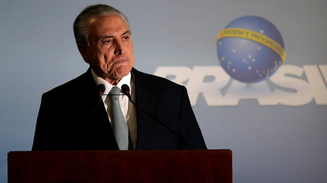 Presidente Michel Temer faz pronunciamento no Palácio do Planalto. 18/05/2017 REUTERS/Ueslei Marcelino