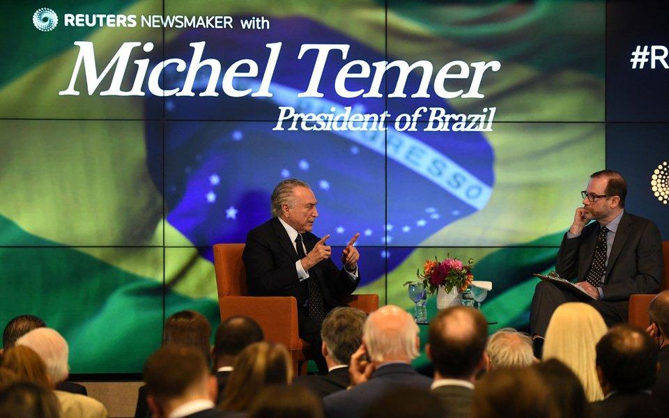 Temer é entrevistado pelo editor-chefe global da Reuters, Steve Adler, em Nova York 20/9/2017 REUTERS/Darren Ornitz
