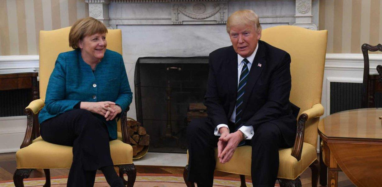 Presidente dos EUA, Donald Trump, e presidente da Alemanha, Angela Merkel