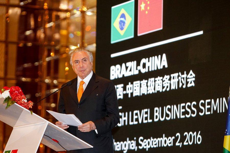 Xangai - China, 02/09/2016. Presidente Michel Temer durante cerimonia de encerramento do Seminário Empresarial de Alto Nível Brasil-China. Foto: Beto Barata/PR