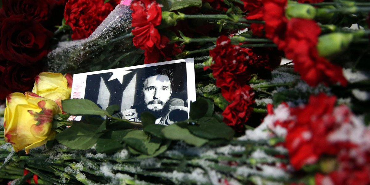 MOSCOW, RUSSIA - NOVEMBER 26, 2016: Flowers at the Cuban Embassy in Moscow in memory of Cuba's revolutionary leader and former president Fidel Castro.