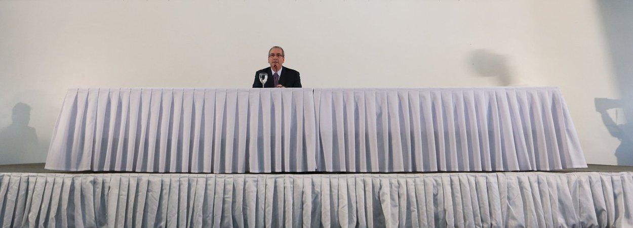 Brasília- DF 21-06-2016 Presidente afastado da câmara, Eduardo Cunha, durante coletiva no hotel nacional de Brasília. Foto Lula Marques/Agência PT