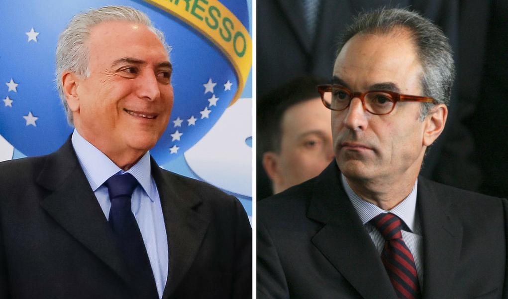 Michel Temer e João Roberto Marinho, da Globo