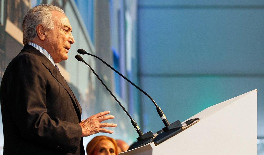 Ortigueira (PR) - O presidente interino Michel Temer participa da inauguração da nova fábrica de celulose da empresa Klabin, em Ortigueira, no interior do no Paraná (Beto Barata/PR)