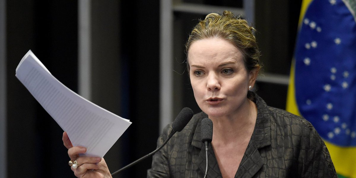 Senator Gleisi Hoffmann, former chief of staff of Brazilian president Dilma Rousseff, speaks during a senate's session to form a committee