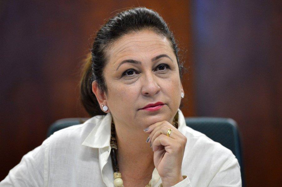 A ministra da Agricultura, Pecuária e Abastecimento, Kátia Abreu, durante entrevista coletiva, anuncia novos resultados nas negociações para ampliação de mercados (Antonio Cruz/Agência Brasil)