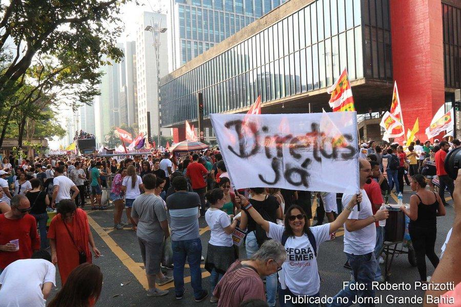 Paulo- SP, Brasil- Manifestação contra o governo de Michel Temer na avenida Paulista, em São Paulo. Foto: Roberto Parizotti/ CUT