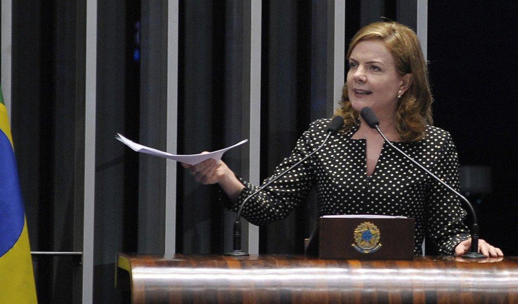 Plenário do Senado Federal durante sessão deliberativa extraordinária. Em discurso, senadora Gleisi Hoffmann (PT-PR). Foto: Waldemir Barreto/Agência Senado