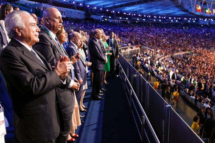 Rio de Janeiro - RJ, 05/08/2016. Presidente em Exercício Michel Temer e o Governador do Rio de Janeiro Luiz Fernando Pezão durante cerimônia de Abertura dos Jogos Olímpicos Rio 2016. Foto: Beto Barata/PR
