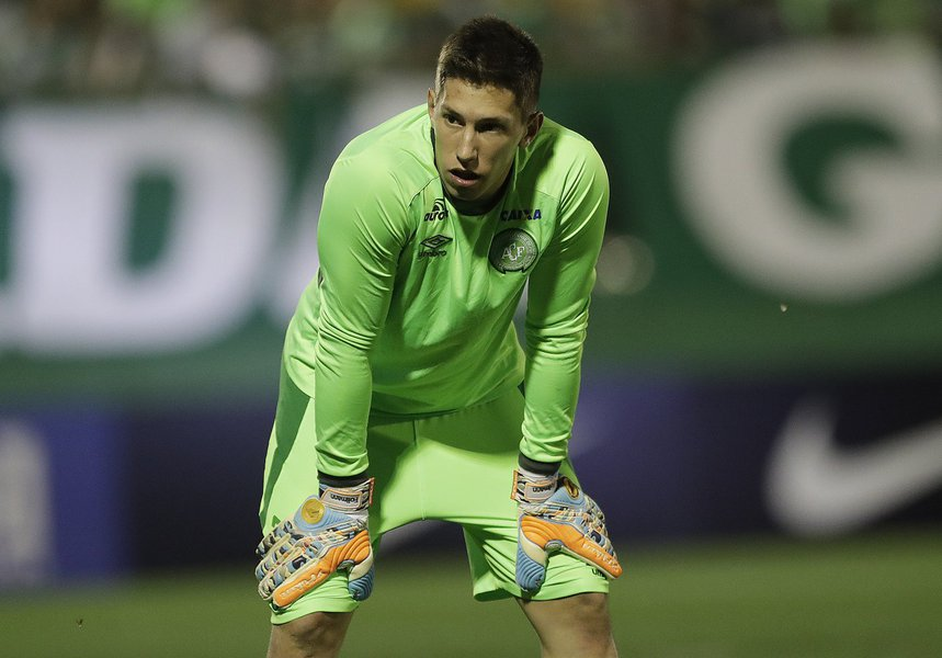 In this Nov. 23, 2016 photo, Brazil's Chapecoense goalkeeper Follmann, warms up prior to a Copa Sudamericana semifinal soccer match against Argentina's San Lorenzo in Chapeco, Brazil.