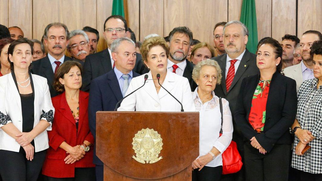 Brasília - DF, 11/05/2016. Presidenta Dilma Rousseff durante declaração à imprensa. Foto: Roberto Stuckert Filho/PR