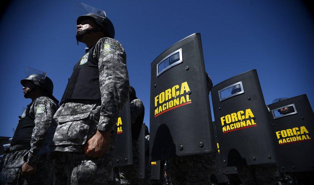 A Secretaria Nacional de Segurança realiza a formatura de 600 integrantes da Força Nacional. A solenidade marca a apresentação de parte do efetivo que irá atuar na Copa do Mundo (Fábio Rodrigues Pozzebom/Agência Brasil)