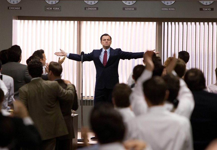 """This film image released by Paramount Pictures shows Leonardo DiCaprio as Jordan Belfort in a scene from """"The Wolf of Wall Street."""" The Golden Globes nominations will be announced on Thursday, Dec. 12. (AP Photo/Paramount Pictures, Mary Cybulski)"""