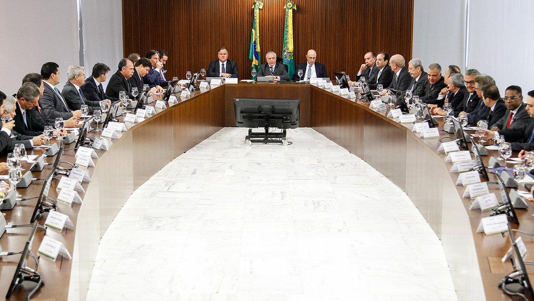 Brasília - DF, 15/06/2016. Presidente em Exercício Michel Temer durante reunião com líderes da base aliada da Câmara e do Senado. Foto: Beto Barata/PR
