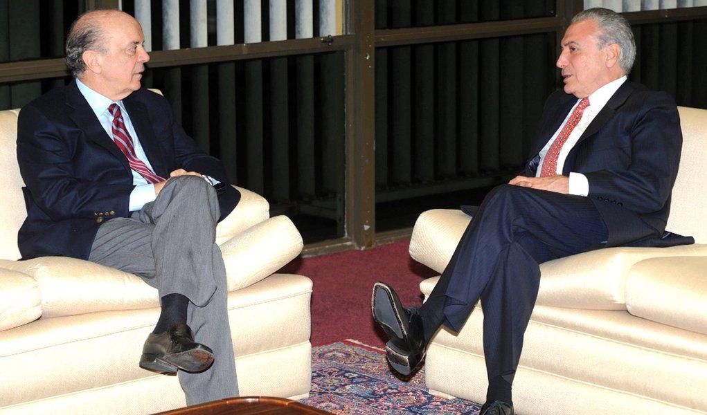 Bras�lia - O vice-presidente Michel Temer recebe em audi�ncia o ex-governador de SP, Jos� Serra