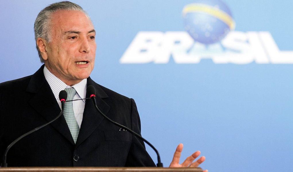 Presidente Interino Michel Temer durante cerimônia de posse do senhor Torquato Jardim no cargo de Ministro da Transparência, Fiscalização e Controle. (Brasília - DF, 02/06/2016) Foto: Beto Barata/PR