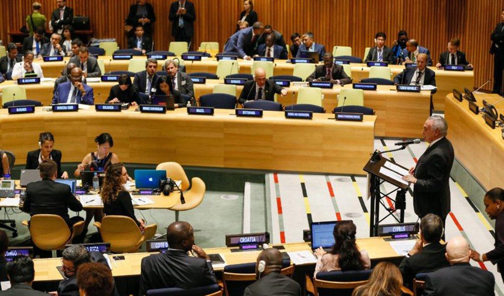 Nova Iorque - EUA, 19/09/2016. Presidente Michel Temer durante sess�o Plen�ria da Reuni�o de Alto N�vel sobre Grandes Movimentos de Refugiados e Migrantes. Foto: Beto Barata/PR