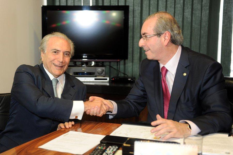 Brasília- DF- Brasil- 10/03/2015- Presidente da Câmara dos Deputados Eduardo Cunha recebe vice-presidente da República Michel Temer. Foto: J. Batista/ Câmara dos Deputados