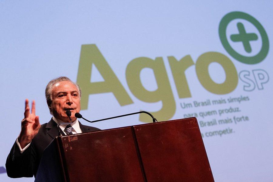 (São Paulo - SP, 20/02/2017) Plano de modernização e desburocratização da agricultura e Solenidade de Lançamento do AGRO+SP. Discurso do Presidente Michel Temer. Foto: Beto Barata/PR