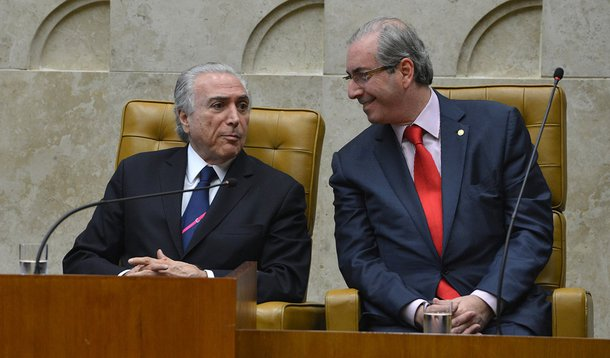 O vice-presidente Michel Temer e o presidente da Câmara, Eduardo Cunha, na solenidade de posse do novo ministro do Supremo Tribunal Federal (STF), Luiz Edson Fachin (Valter Campanato/Agência Brasil)