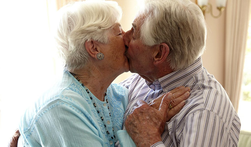 Elderly couple in a private retirement home