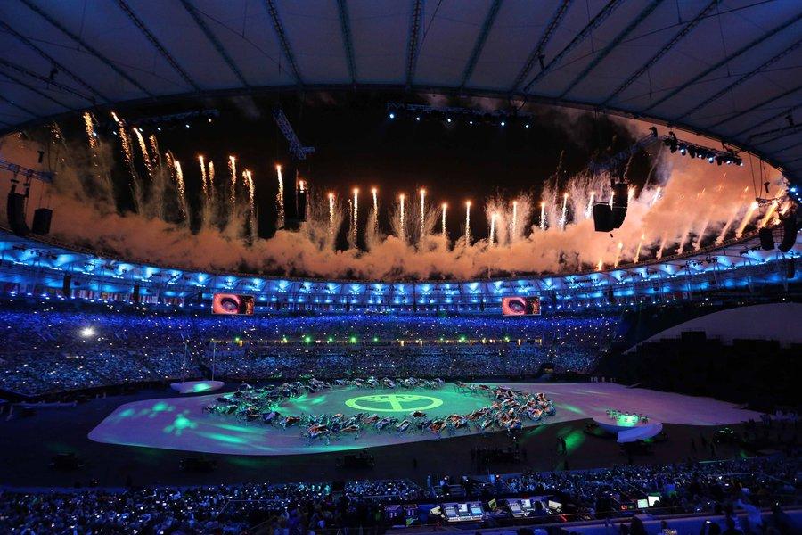 Rio de Janeiro- RJ- Brasil- 05/08/2016- O Prefeito do Rio de Janeiro, Eduardo Paes, durante cerimônia de abertura das Olimpíadas Rio 2016, no estádio do Maracanã. Foto: Beth Santos/ PCRJ