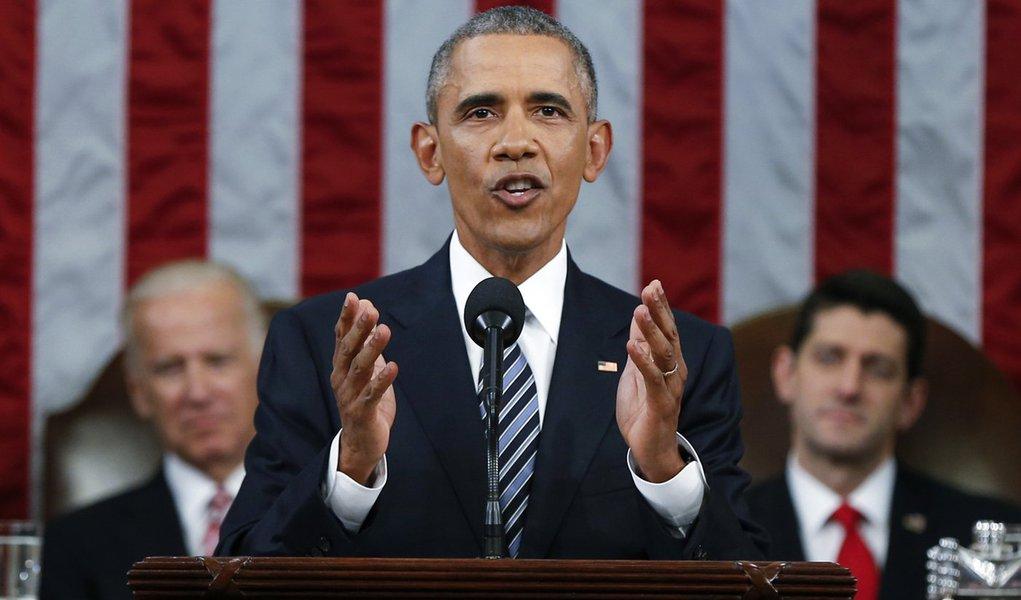 Presidente dos Estados Unidos, Barack Obama, durante discurso anual do Estado da União, em Washington. 13/01/2016 REUTERS/Evan Vucci/Pool