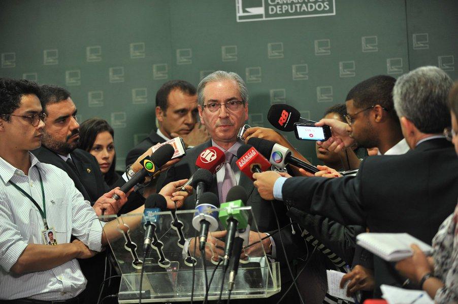 Presidente da C�mara dos Deputados Eduardo Cunha concede entrevista coletiva � imprensa