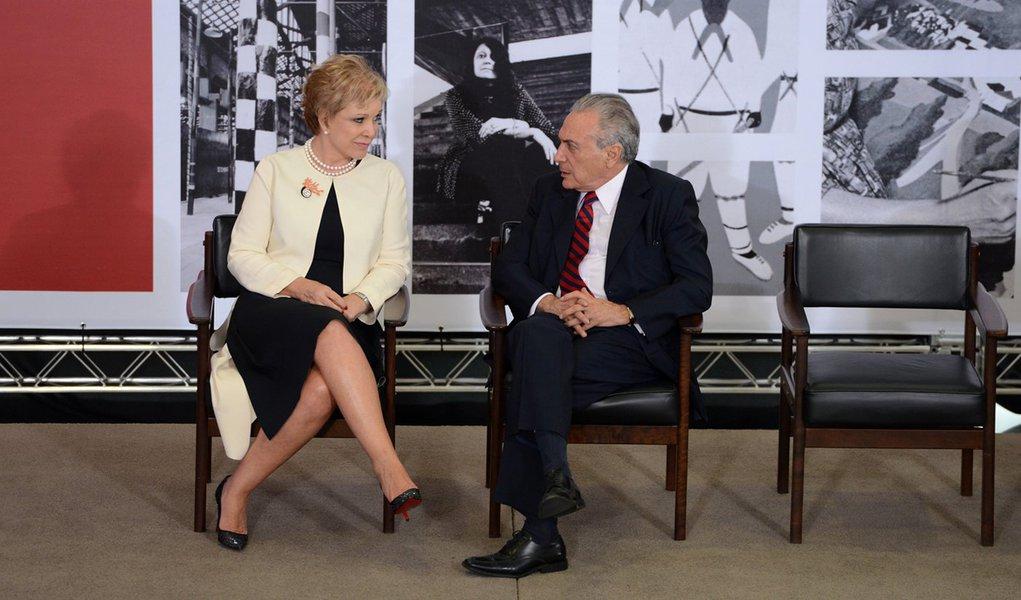 A ministra da Cultura, Marta Suplicy, e o vice-presidente Michel Temer participam da cerimônia de entrega da Ordem do Mérito Cultural 2014, no Palácio do Planalto (Valter Campanato/Agência Brasil)