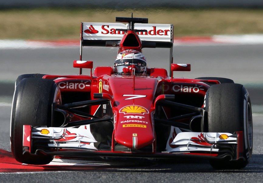 Ferrari Formula One driver Kimi Raikkonen of Finland drives his car during testing session at the Catalunya racetrack in Montmelo, near Barcelona February 20, 2015. REUTERS/Albert Gea (SPAIN - Tags: SPORT MOTORSPORT F1)