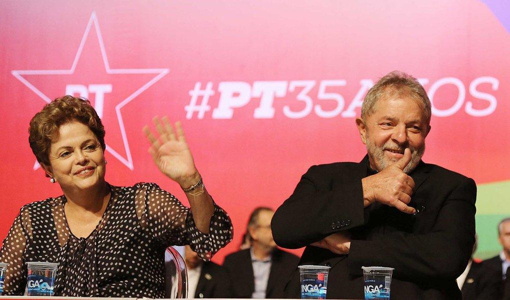 Com Dilma, Lula e Mujica, PT celebra 35 anos de fundação em BH Presidente Dilma, Lula, José Mujica e Pimentel foram ovacionados. Foto: Ricardo Stuckert / Instituto Lula