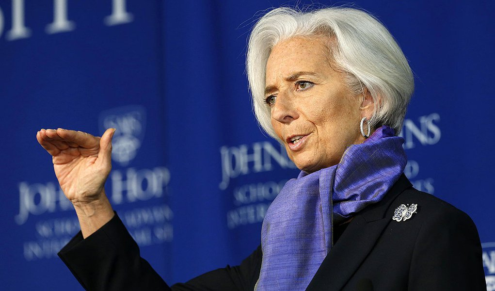 International Monetary Fund Managing Director Christine Lagarde gestures as she speaks about the global economy at the Johns Hopkins School of Advanced International Studies in Washington April 2, 2014. The European Central Bank should ease monetary polic