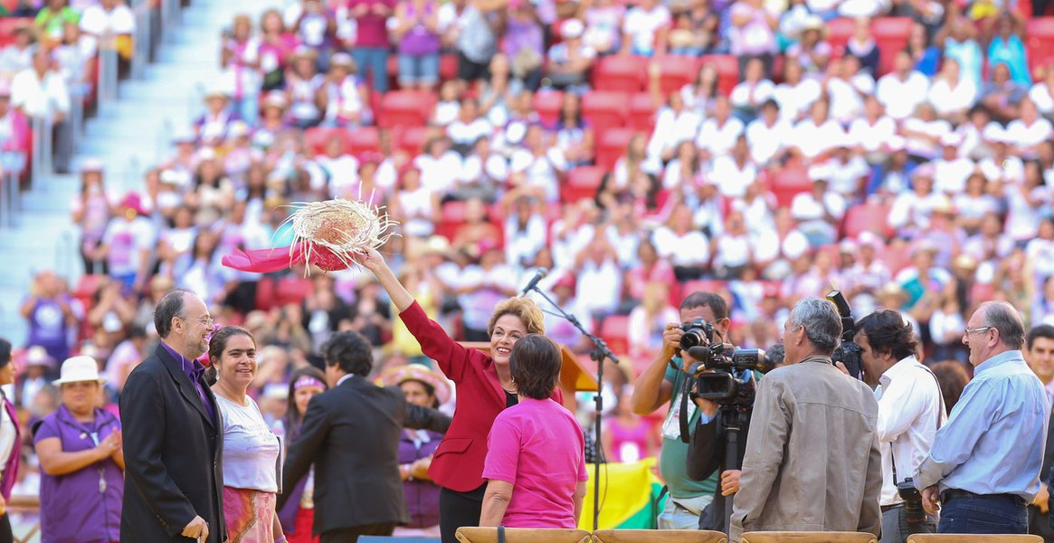 Brasília- DF 12-08-2015 Foto Lula Marques/Agência PT Presidenta, Dilma participa do encerramento da 5ª marcha das margaridas. Margaridas no estádio nacional de Brasília.