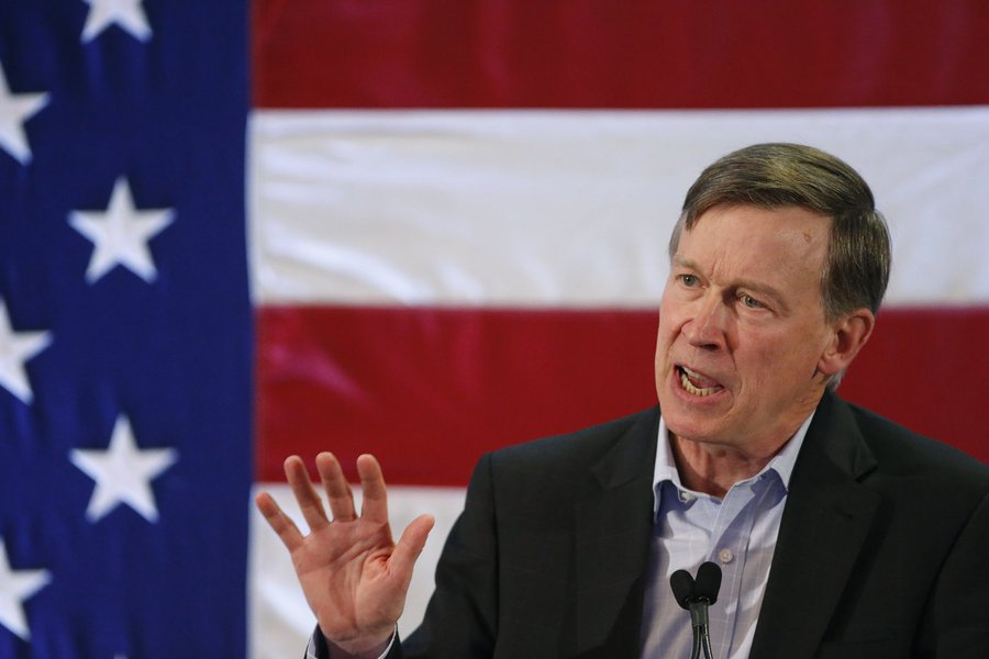 Colorado Gov. John Hickenlooper speaks during a rally at which former President Bill Clinton urged Coloradans to reelect Gov. Hickenlooper, U.S. Sen. Mark Udall, and other Democratic candidates, in Lakewood, Colo., Tuesday, Oct. 28, 2014.