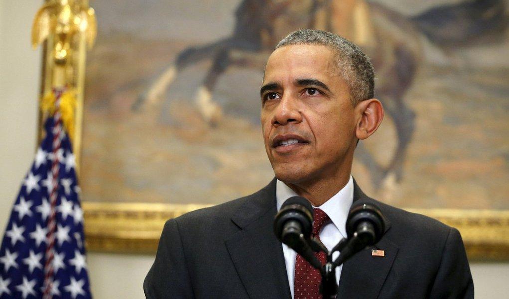 Presidente dos Estados Unidos, Barack Obama, em discurso na Casa Branca, em Washington, nesta quarta-feira. 25/11/2015 REUTERS/Carlos Barria