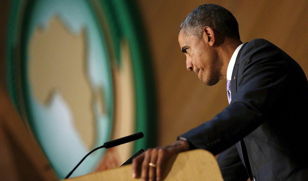 Presidente dos EUA, Barack Obama, durante discurso à União Africana, em Adis Abeba, capital da Etiópia. 28/07/2015 REUTERS/Jonathan Ernst