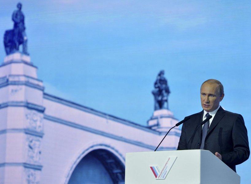 Presidente russo Putin faz discurso durante evento em Moscou nesta terça-feira.  REUTERS/Alexei Druzhinin/RIA Novosti/Kremlin